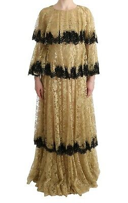 NEW $12400 DOLCE & GABBANA Dress Gold Black Floral Lace Gown Maxi IT44 / US10