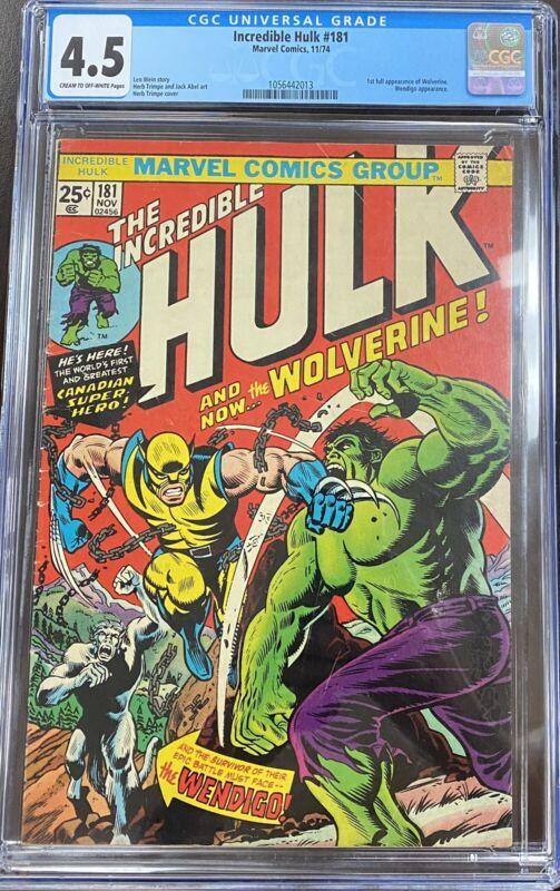 Incredible Hulk #181 1st full Wolverine appearance CGC 4.5 Blue Label Marvel