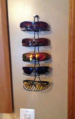 Wall Hanging Sunglasses Rack 5 Display Shelves Storage Shelf Black Metal