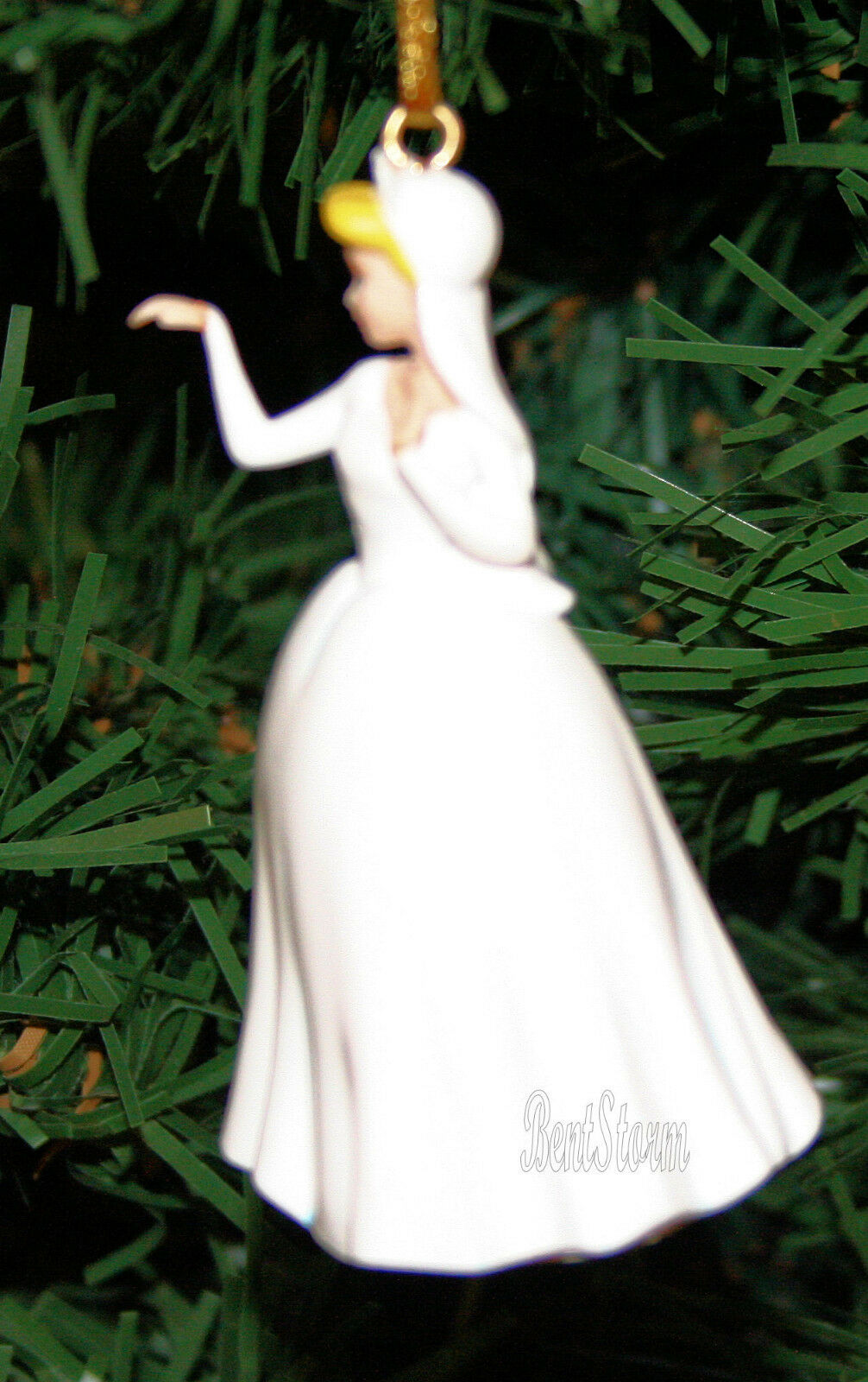 Disney Princess Cinderella WHITE WEDDING DRESS Holiday Christmas Ornament PVC