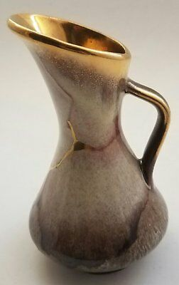 Vintage 1960/70s Jasba Lava Ceramic Vase Small Pitcher Brown Gold Marble 537 Ger
