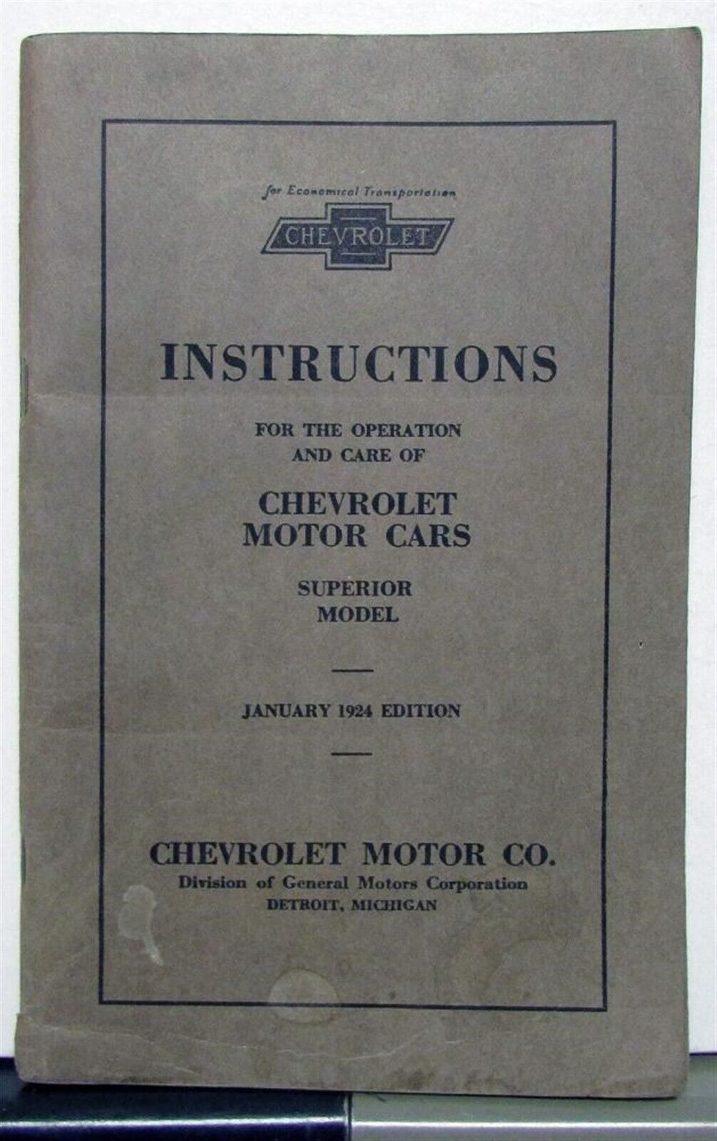 1924 Chevrolet Superior Models Owners Operators Manual Original