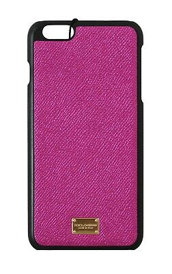 NEW $180 DOLCE & GABBANA Phone Case Pink Shiny Leather Gold Logo iPhone6 Plus