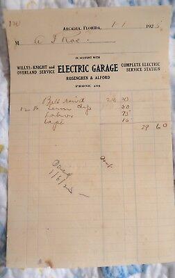 1925 Arcadia Florida Fla Fl ELECTRIC GARAGE Service Station Letterhead receipt