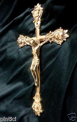 Cross Cross-Fix Crucifix Wall cross Brass H33 Jesus at Christ Altar cross New
