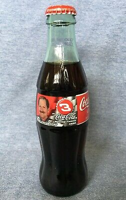 COCA COLA CLASSIC NASCAR DALE EARNHARDT #3 NUMBERED COLLECTIBLE 8OZ GLASS BOTTLE