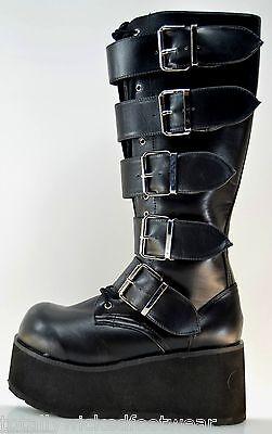 "Trashville 3"" Platform Multi Buckle Gothic Punk Boot Black Men's US 4-13"
