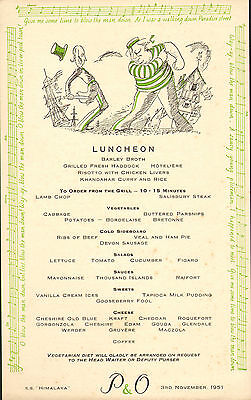p & o - s.s. himalaya menu (  1951 )  luncheon (  blow the man down )