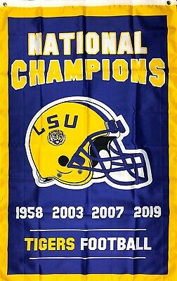 2019 LSU Tigers National Champions Flag 3x5 4x Vertical Banner College -