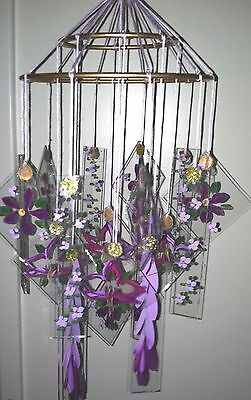 Japanese Chinese Glass Wind Chime windchimes Vintage style VIOLET