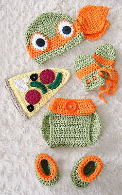 Crochet TMNT Inspired Michelangelo Ninja Turtle baby Outfit/Costume up to 12 m