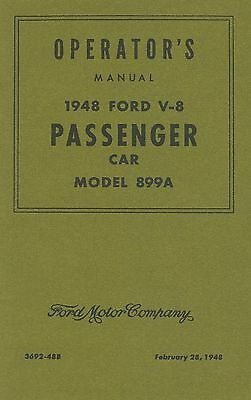 Operator's Manual 1948 Ford Passenger Car (Model 899A)