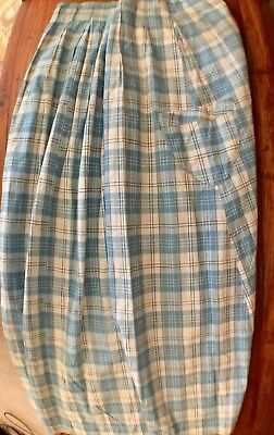 Women's Antique Blue Cream Plaid Home Spun 2 Pocket Skirt Edwardian Victorian