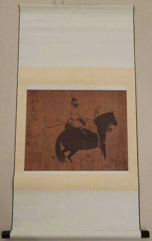 Vintage Reproduction of Two Horses and a Groom Scroll by Han Kan