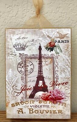 Paris Eiffel Tower & Roses Postcard Plaque Sign Wall Decor French Cottage 5x7