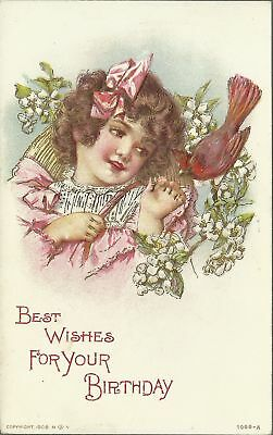 OLD VINTAGE BEST WISHES FOR YOUR BIRTHDAY EMBOSSED GIRL 1908