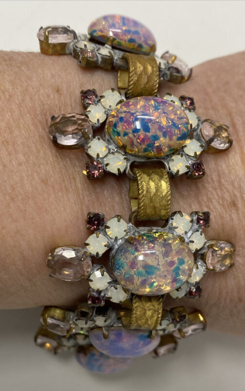 Vintage Antique Amethyst Art Glass & Faux Opal Ornate Cabochon Cluster Bracelet