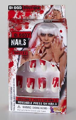 12 Bloody Finger Nails Stick On Scary Halloween Adult Costume Accessory](Bloody Halloween Fingernails)