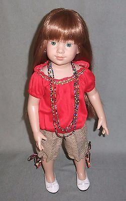 70's Retro Outfit for Magic Attic Club dolls: Peasant Blouse, capris, Love Beads