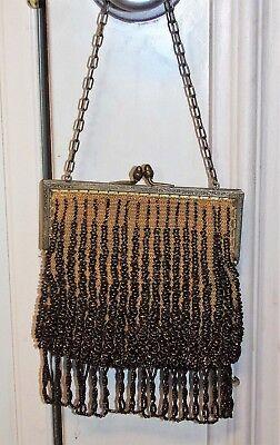 Vintage Braun Perlen Geldbörse Handtasche Kiss Klemme mit Fransen Kette Griff - Perlen-geldbörse Handtasche Tasche