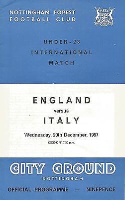 Football Programme - England v Italy - U23 International - 20/12/1967
