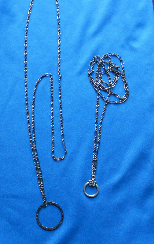 Eyeglass Holder Figaro Gunmetal 2mm Chain Necklace -- choose Loop style and size