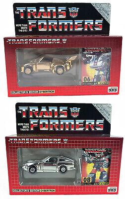 Transformers Takara E-Hobby Exclusive Gold Jazz and Chrome Silver Bluestreak MIB