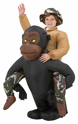 Gemmy Inflatable Halloween Costumes (Inflatable Riding Gorilla Child Costume Gemmy Ape Animal Funny)