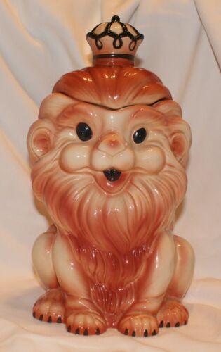 Vintage Ceramic Italian Crowned Lion Cookie Jar Numbered Glazed **EUC** 1960s?