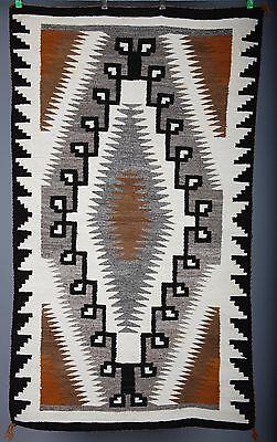 Vintage Navajo rug blanket Native American large textile weaving Two Grey Hills