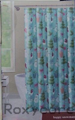 Christmas VCNY Happy Snowman 14-piece Bath Set Shower Curtain Hooks Rug NWT](Snowman Bathroom Sets)