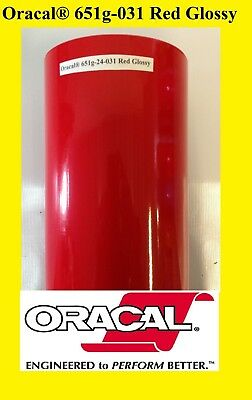 24 X 10 Ft Roll Red Glossy Oracal 651 Vinyl Adhesive Plotter Sign Cutter 031