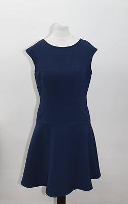 JULIA JORDAN Ladies Blue Cap Sleeve Crew Neckline Ribbed Skater Dress Size UK8