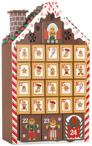 BRUBAKER Advent Calendar - Wooden Gingerbread House with 4 LED Lights - 10.3 x 1