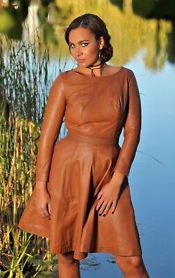 Lederkleid als Tellerkleid in ECHT-Leder cognac leichter USED LOOK für Damen