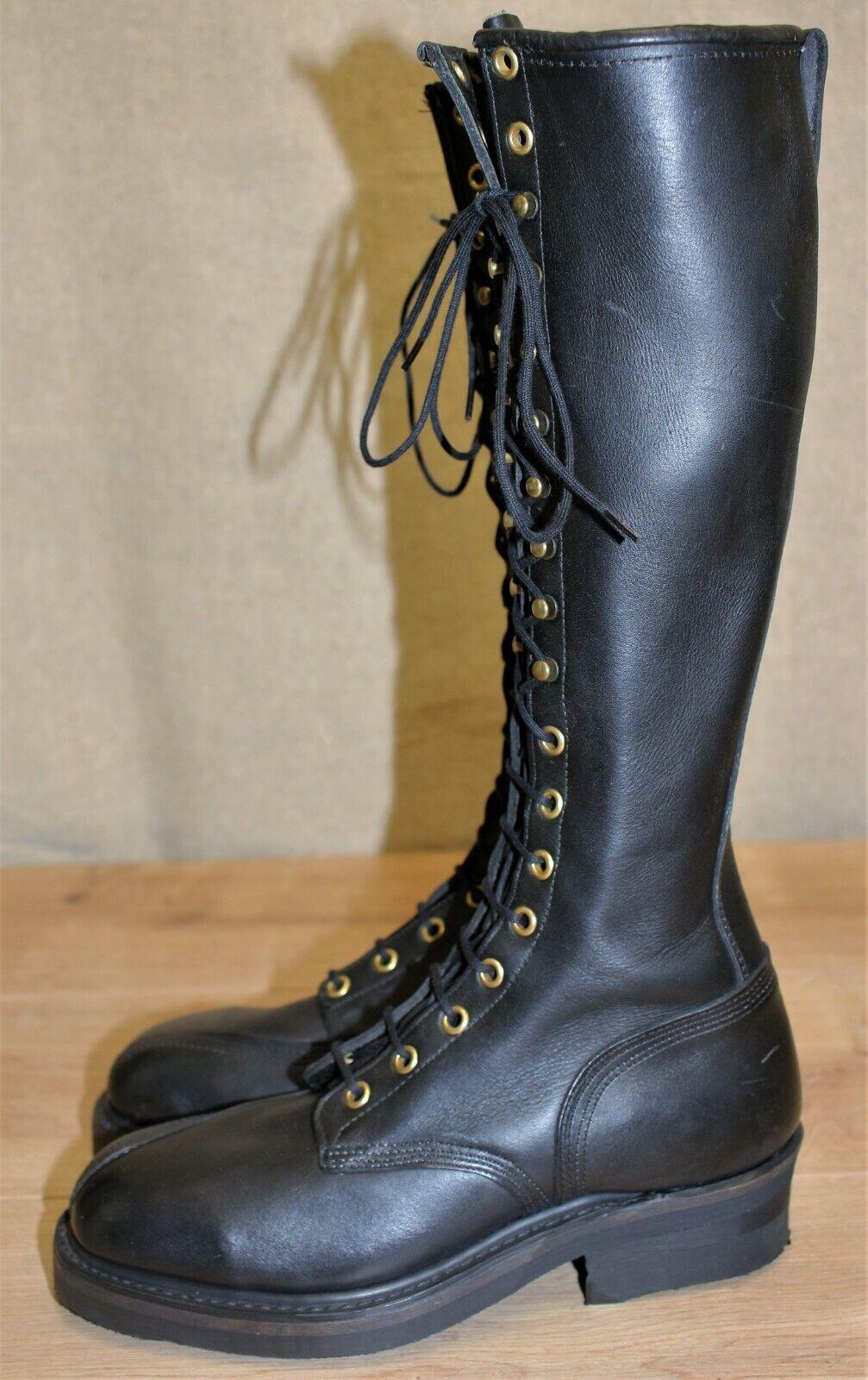 Bottes à lacets moto femme neuves cuir épais noir pointure 37