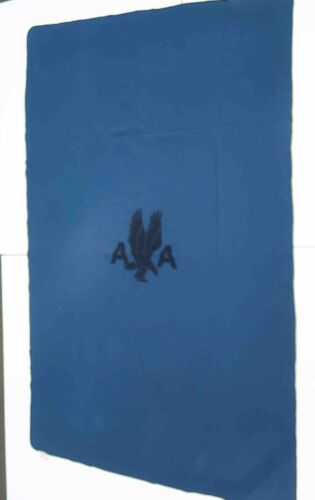 """60s Vintage AMERICAN AIRLINES first class Wool Blanket w  A A Logo  41"""" x 65"""""""