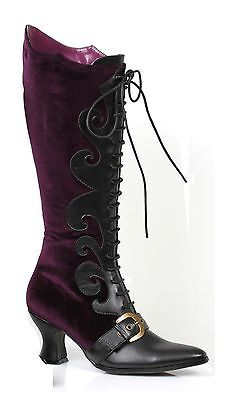 Purple Velvet Witch Maleficent Victorian Costume Lace Boots Womans size 7 8 9 - Witch Booties
