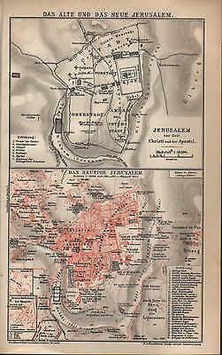 Landkarte city map 1902: DAS ALTE UND DAS NEUE JERUSALEM. Israel