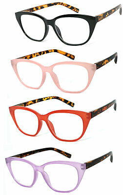 1 or 3 Pair Fashion Cat Eye Translucent Colorful Frame Full Lens Reading (Colored Translucent Glasses)