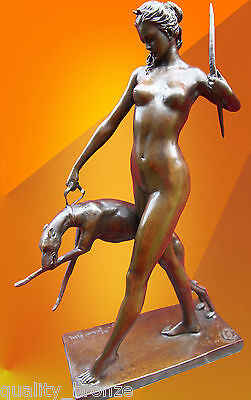 ART DECO BRONZE STATUE McCARTAN DIANA HOUND FIGURE CAST SIGNED NAKED FIGURINE