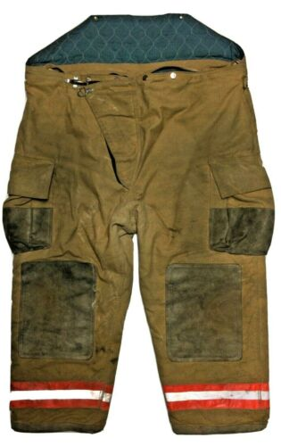 56x29 Globe Brown Firefighter Turnout Pants High Back with Orange Stripes P1296