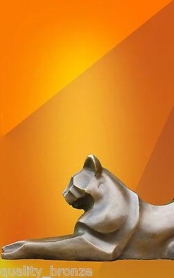 BRONZE PANTHER HOT CAST STATUE,  ANIMAL FIGURE SCULPTURE COUGAR CAT FIGURINE