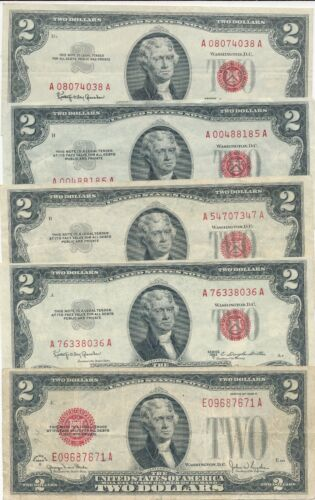 LOT (5) $2 RED SEAL U.S. NOTES-1928, 1953, 1963-MIXED GRADES-NICE! SHIPS FREE!