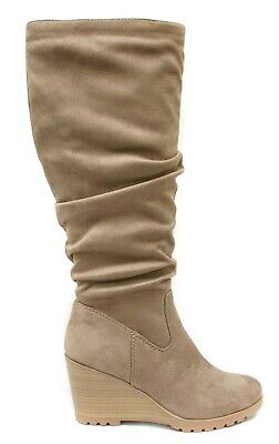 Soda Women Wedge Heel Slouchy Knee High Boots Side Zipper Beige Taupe Suede ENVY