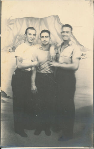 1940s WWII Smokey Jones & 2 Red Hill worker pals Hawaii Photo arcade Photo