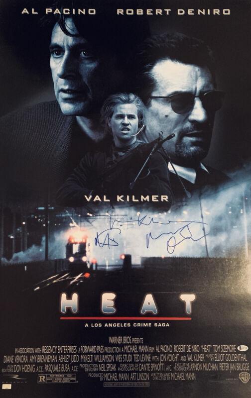 Original 27x40 Cast Signed Heat Movie Poster Deniro Pacino Kilmer Beckett