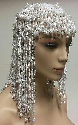 White Egyptian Cleopatra Beaded Headpiece Accessory - Cleopatra Head Piece
