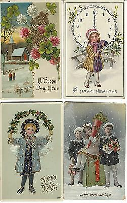 4 Happy New Years Pcs   Early 1900S   Children   Church   Bells   More