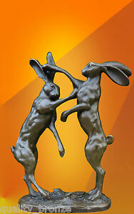 SIGNED PAIR OF BOXING HARES BRONZE STATUE ANIMAL SCULPTURE HOT CAST FIGURE